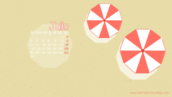 Fondo de pantalla calendario mes de julio, freebies