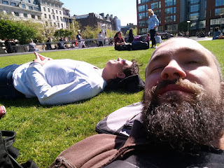Relaxing in the sun in central Manchester