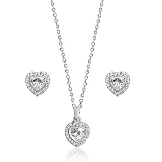 Silver Heart Halo Pendant & Earrings Set