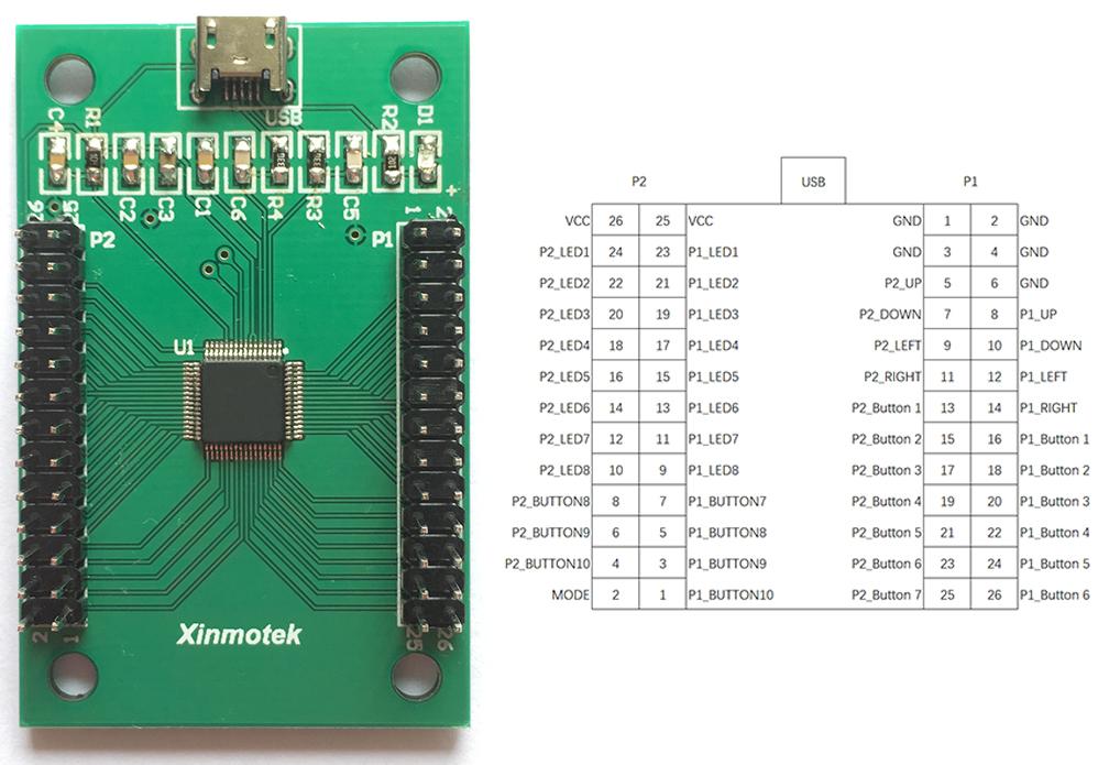 Xin Mo Arcade 2 Player Encoder - ArcadeForge