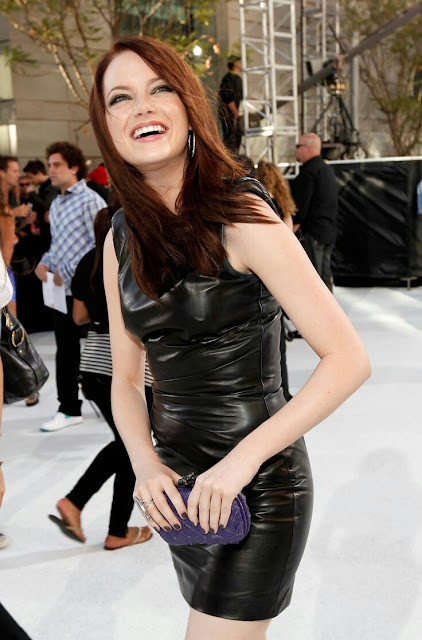 Lovely Ladies In Leather Emma Stone In A Leather Mini Dress