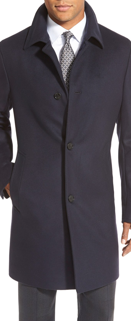 BOSS 'Task' Trim Fit Wool & Cashmere Overcoat