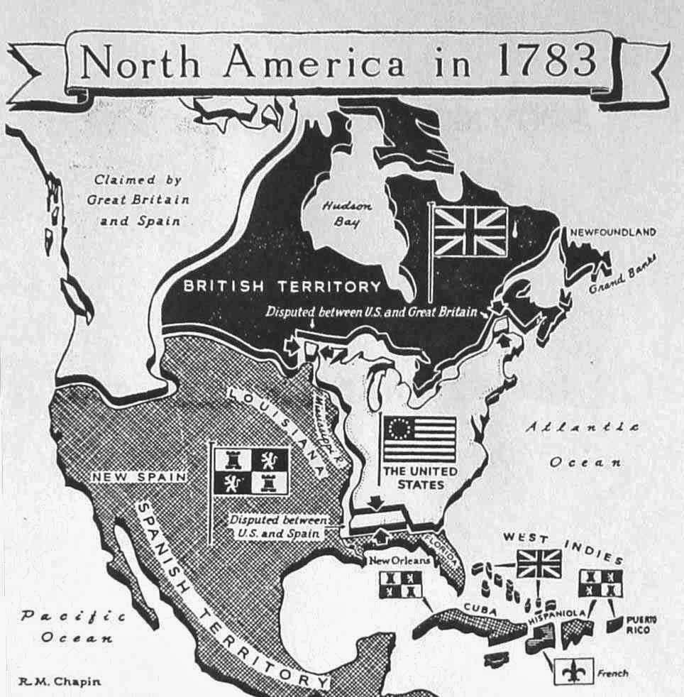 North America in 1783. Making of Modern America (Houghton Mifflin Company) by Robert M. Chapin, Jr. (1950)