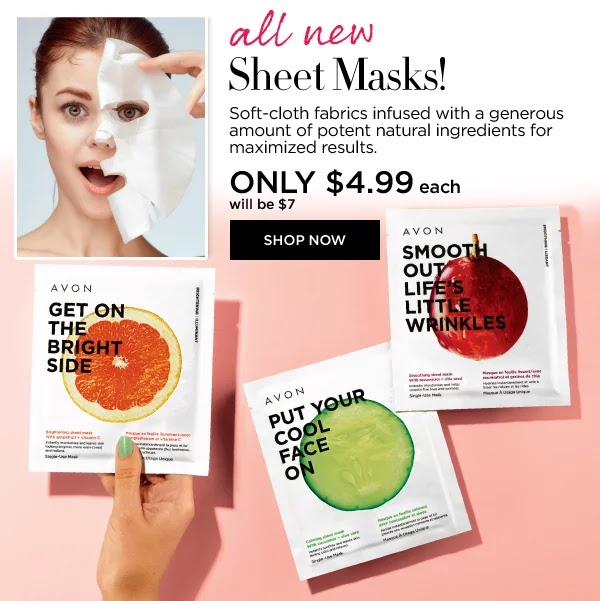 What do we have here?! It's our new sheet mask collection and there's something for everyone. From brightening to smoothing and soothing. We've got you covered. Try them all! Shop with me at: https://www.avon.ca/webapp/wcs/stores/servlet/ExternalDeepLinkRedirectView?deepURL=SearchDisplay&sType=SimpleSearch&searchTerm=P3000322+P3000323+P3000324&icid=&storeId=10651&regSource=S&BP=0000460954
