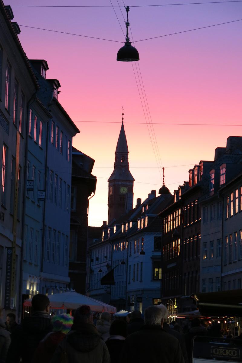 Kopenhagen Kompagnistraede beim Sonnenuntergang