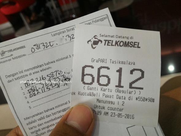 Nomor antrian ganti kartu sim card Telkomsel di Grapari Tasikmalaya