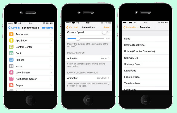 Pilihan kostumisasi Springtomize 3 on iOS 7