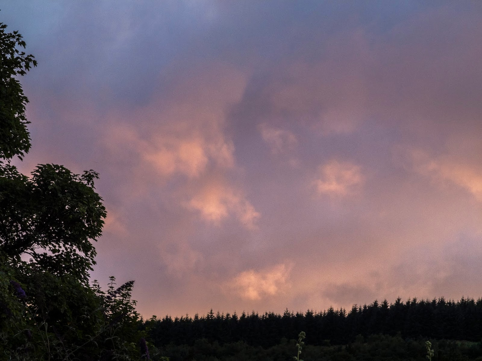 Pink sunset clouds over the top of a hill in the Boggeragh Mountains County Cork.