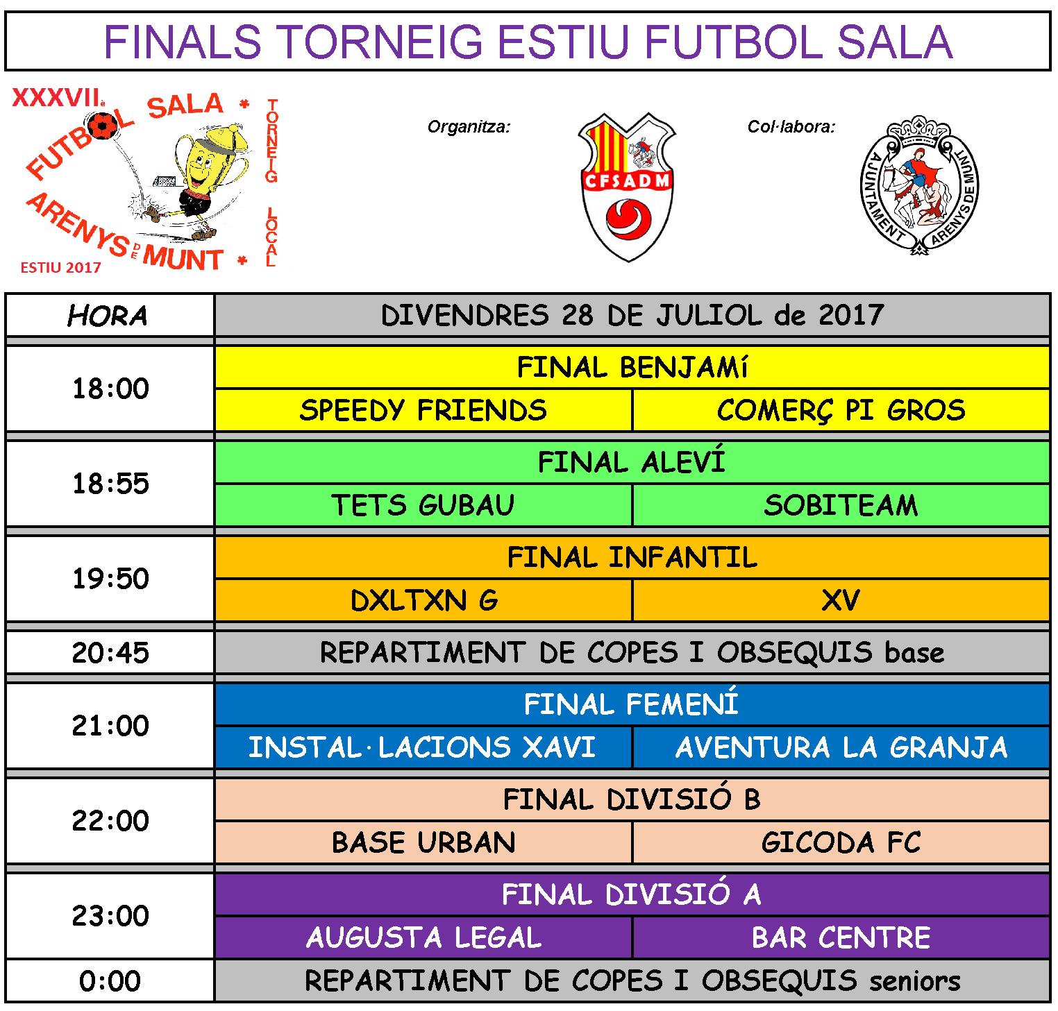 També avui es jugaran les 6 finals del 37è torneig d'estiu de futbol sala d'Arenys de Munt