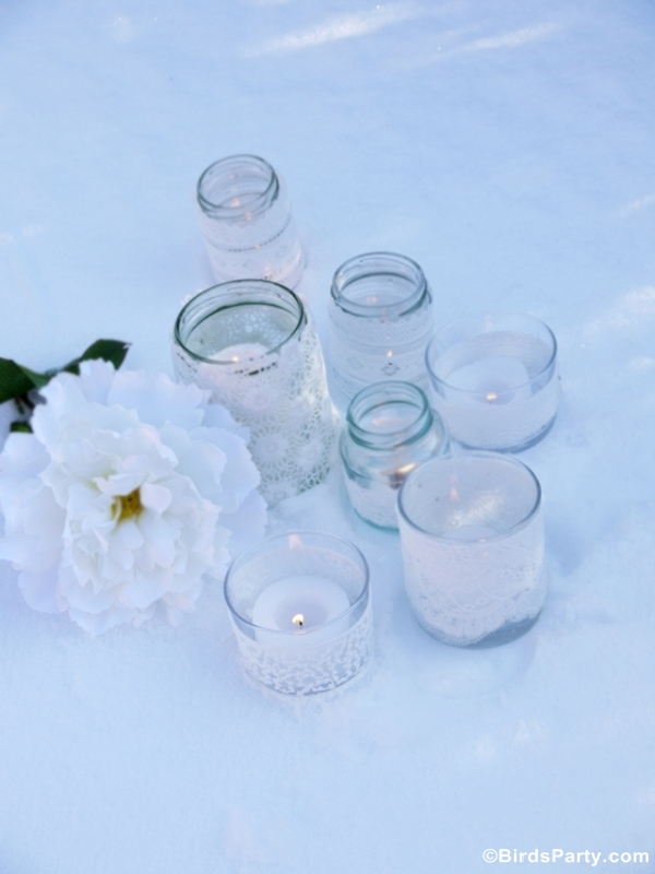 DIY Quick & Easy Lace Candle Holders - BirdsParty.com