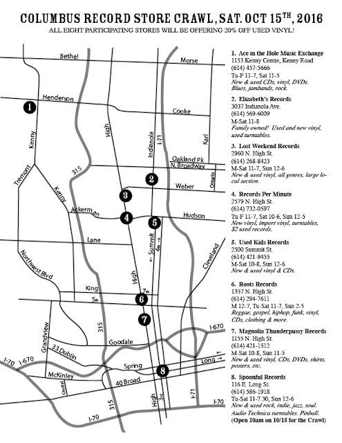 Columbus Ohio Record Store Map