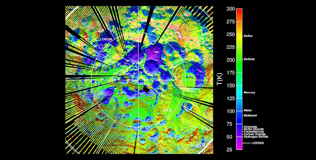 Temperature of the surface around the southern pole of the moon according to LRO data © NASA