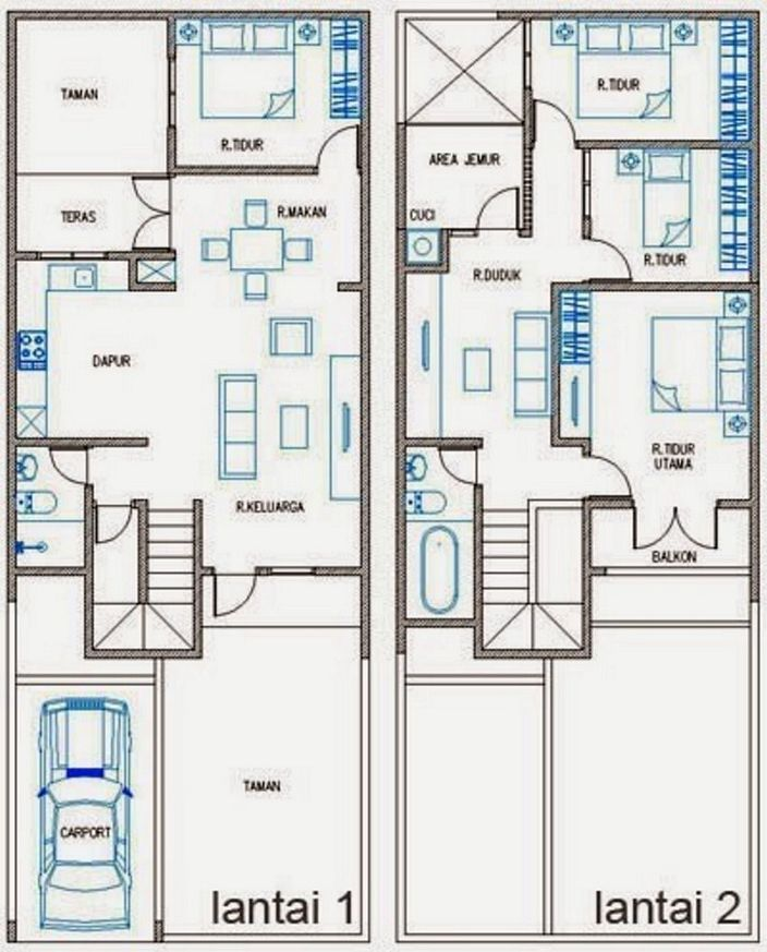 denah rumah ukuran tanah 7x12m lantai 2 yang minimalis