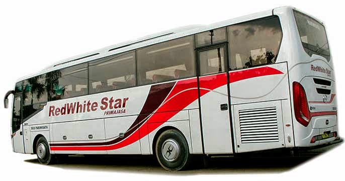 big bus pariwisata red white star