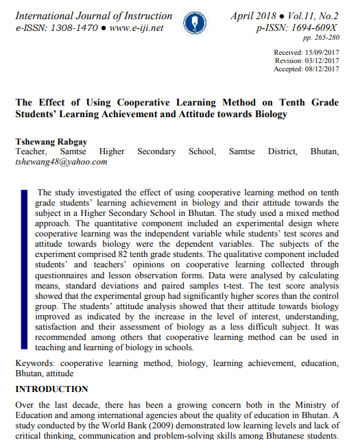 Tshewang rabgays blog the effects of using cooperative learning method on tenth grade students learning achievement and attitude towards biology malvernweather Choice Image