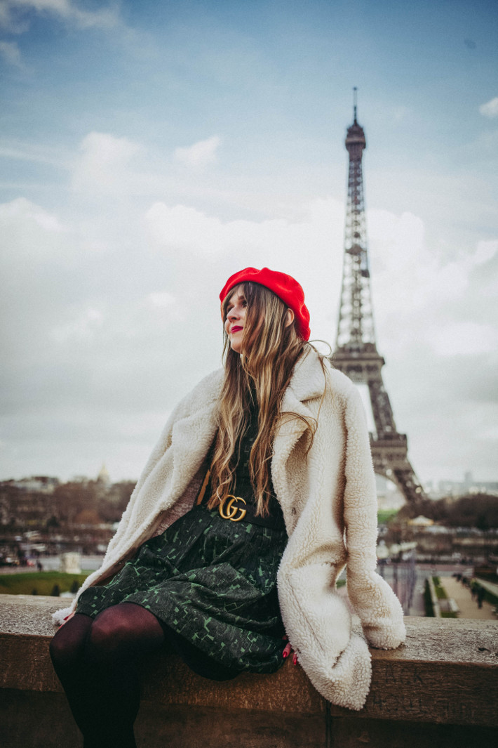 Travel: the Eiffel tower and a red beret