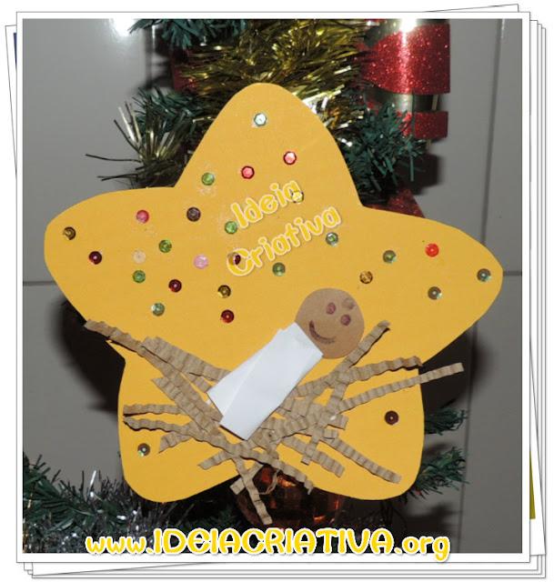 Enfeite Natalino Jesus bebê na manjedoura Atividade Natal Cristão