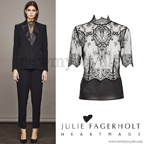 Crown princess Mary wore Heartmade - Julie Fagerholt lace shirt with high neck and short sleeves