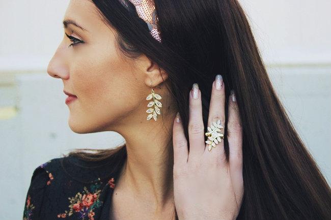 flower jewelry set, flower earrings and flower ring