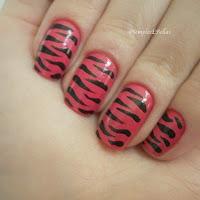 Unha Decorada - Animal Print - Tigre - Pink