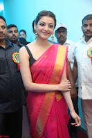 Kajal Aggarwal in Red Saree Sleeveless Black Blouse Choli at Santosham awards 2017 curtain raiser press meet 02.08.2017 022.JPG
