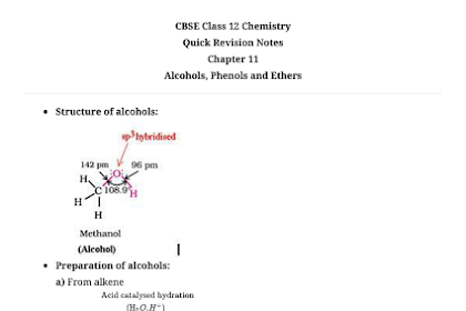 CBSE Class 12 Chemistry Notes : Alcohols, Phenols and Ethers