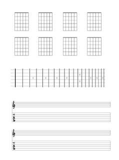 Guitar chord chart Guitar fingerboard diagram guitar tabs guitar manuscript Blank Template Download