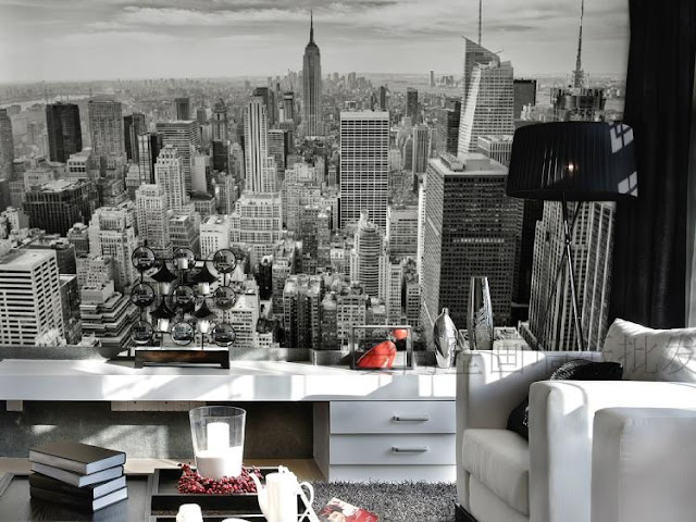 New York Wall Mural Skyline Black And White Wallpaper