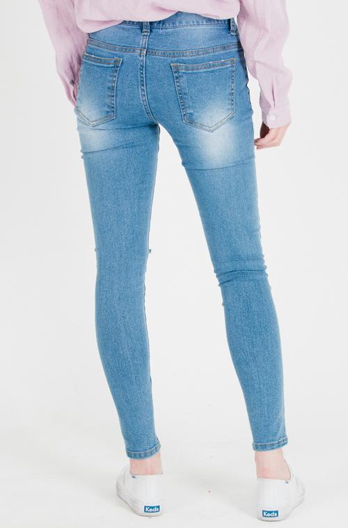 Slit Knee Faded Wash Skinny Jeans