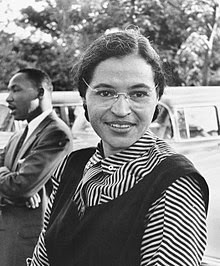 1955, Rosa Parks with Martin Luther King Jr. in the Background