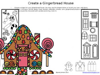 worksheet for creating a gingerbread house drawing