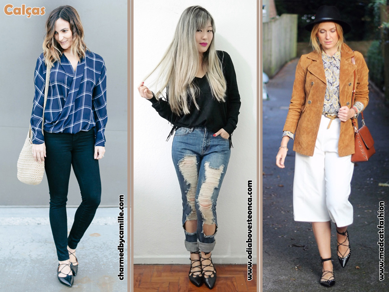 Como usar sapatilha lace up, Flats, Shoes, Sapatos, Sapatilhas de amarrar, Look, Calça, Estilo, Moda, Fashion, Tendência