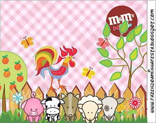 Etiqueta M&M de  La Granja Bebés en Rosa  para imprimir gratis