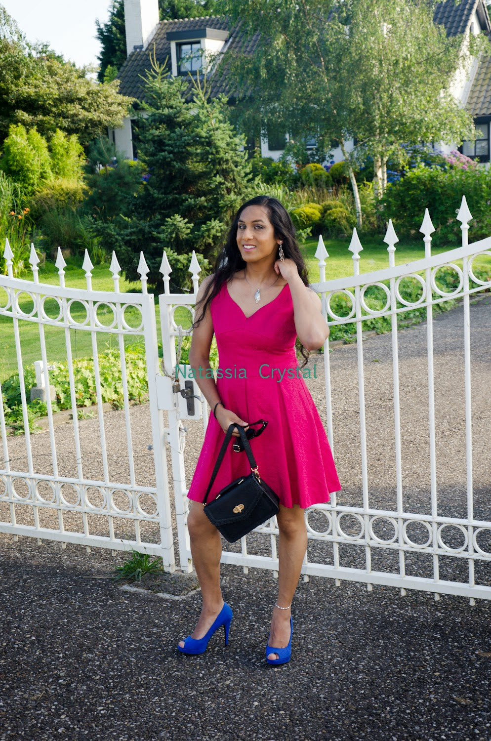 Natassia pink dress blue heels white gate