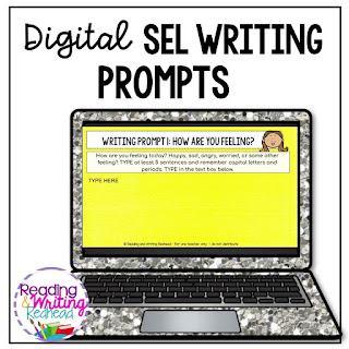 Digital SEL writing prompts cover