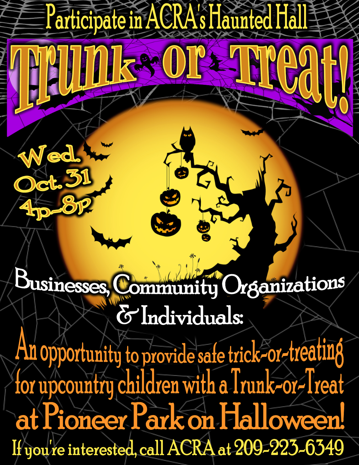 Trunk-or-Treat at Pioneer Park - Wed Oct 31