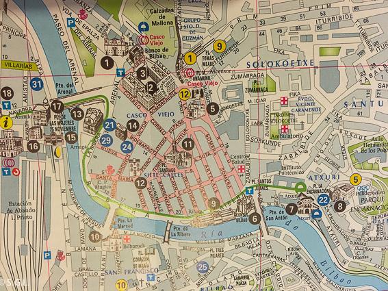 Mapa del casco viejo. Bilbao
