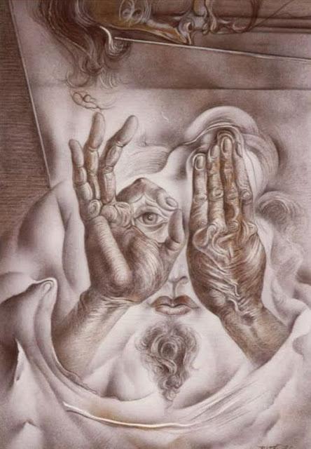Dibujo voyeur surrealista pintor catalán modernista Joan Rifà