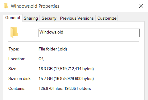 Delete the Windows.old Folder