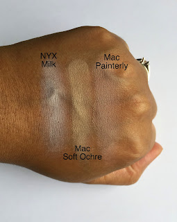 NYX Jumbo Pencil in Milk, Mac Paint Pot in Soft Ochre, and Mac Paint Pot in Painterly swatched on dark skin