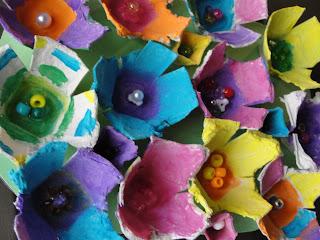 egg carton flowers done