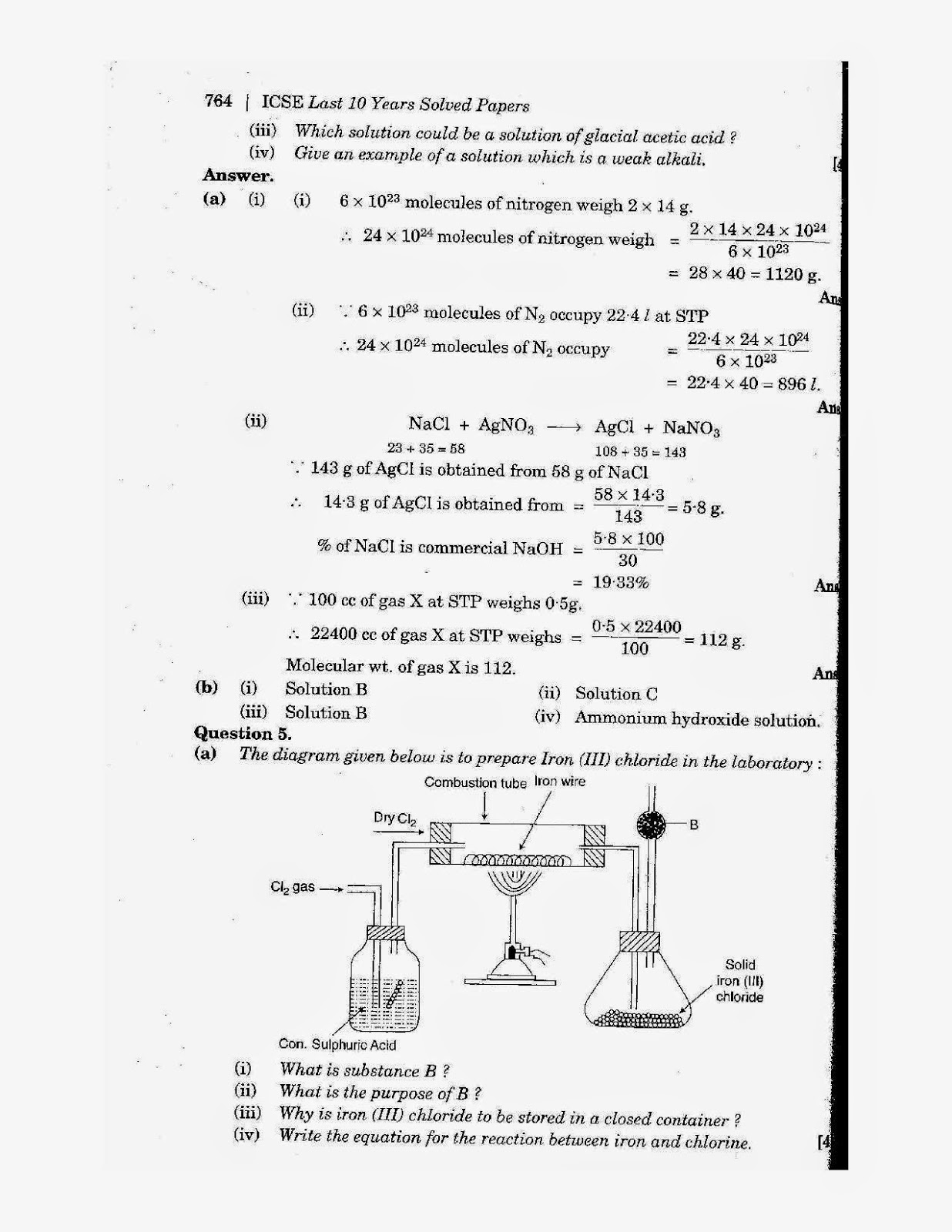 icse class 10th chemistry solved question paper 2009
