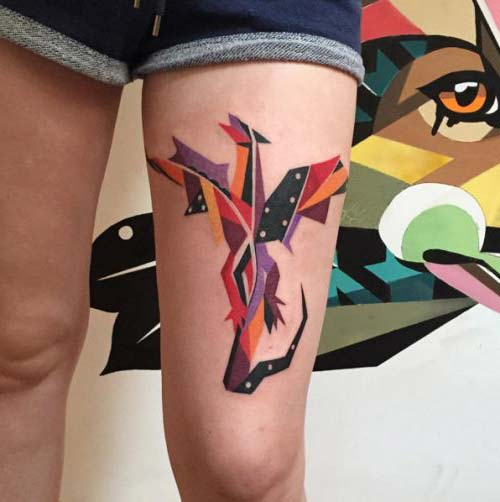 geometric colorful dragon tattoo geometrik renkli ejderha dövmesi