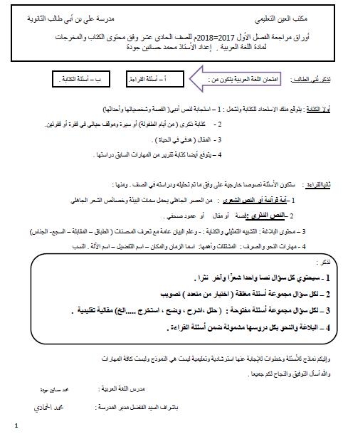أوراق عمل (قواعد نحوية -بلاغية -إملائية -نموذج امتحان)