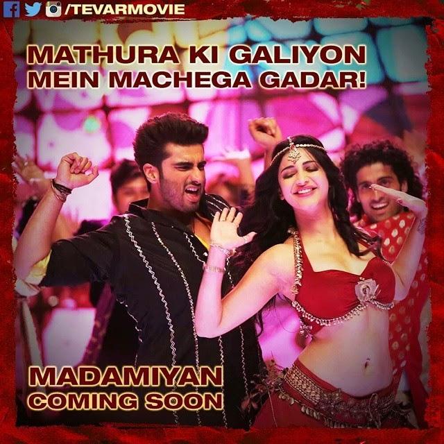 woh din dur nahi jab machega gadar doston!  ready ho jao to become madam i yan , of our madam!  te va r ,, Madamiyan Shruti Hassan Hot pics from Tevar Movie Song Madamiyan