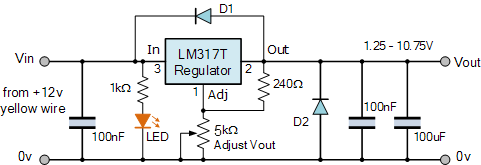 دائرة مصدر جهد قابل للتعديل باستخدام LM317