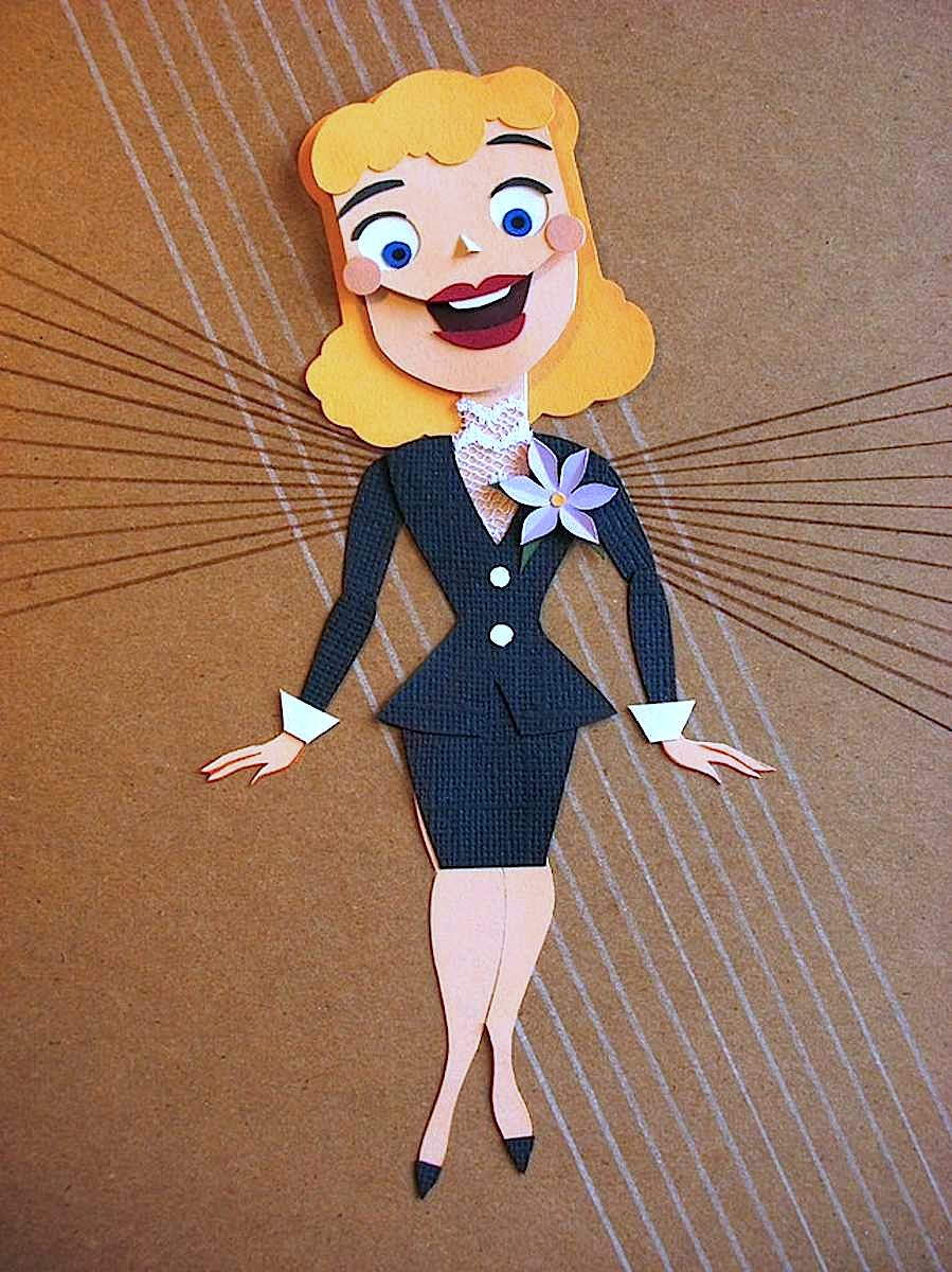 A 1950s papercut illustration of an office worker with good attitude