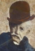 Retrato del compositor, en edad avanzada, con bigote blanco y bombín cubriendo su cabeza.