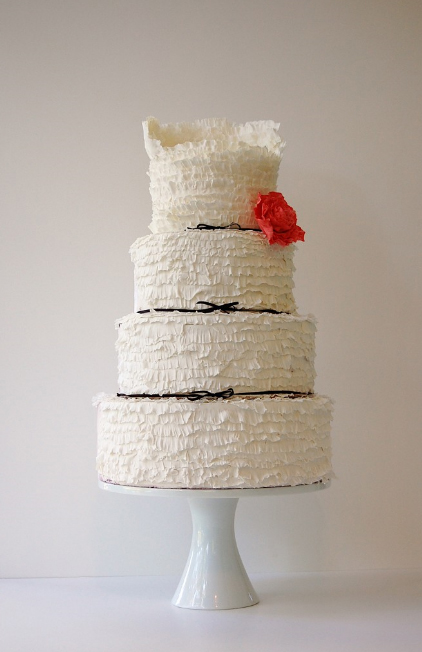 Wedding Cakes Pictures Black And White Ruffle Cake