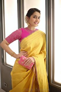 Rashi kHanna in a beautiful Yellow Saree and Pink Blouse Stunning Cute Pics